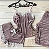 Піжама комплект трійка (штани+Футболка+шорти) з оксамиту з мереживом, фото 6