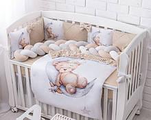 Комплект постельного белья из сатина  со спящим мишкой на месяце бежевого цвета (3 бортика и коса) №391