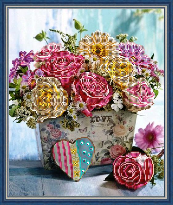 Вишивка бісером, Канва квіти троянди Ніжний букет троянд