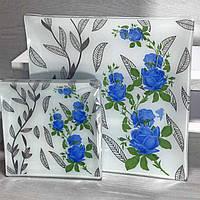 """Набір Блюдо +6 Тарілок """"Royal Opal"""" маленька синя троянда/білий, фото 1"""