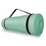 Коврик (мат) для йоги и фитнеса SportVida NBR 1.5 см SV-HK0074 Mint, фото 3
