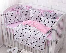 Комплект детского постельного белья «Микки с розовым бантом» с бортиками на 4 стороны, №388