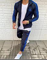 Спортивный костюм ADIDAS с лампасами мужской весна/лето/осень темно-синий