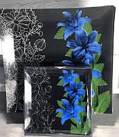 Набір тарілок 6 + 1 сині лілії на чорному