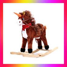 Дитячий коник гойдалка Єдиноріг музична зі звуковими ефектами W 04 коричневий