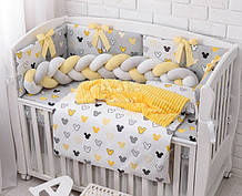 Комплект детского постельного белья «Желто-серые Микки» с бортиками на 3 стороны и косой, №387