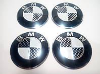 Наклейка опукла на ковпачок диска BMW 56 мм чорна
