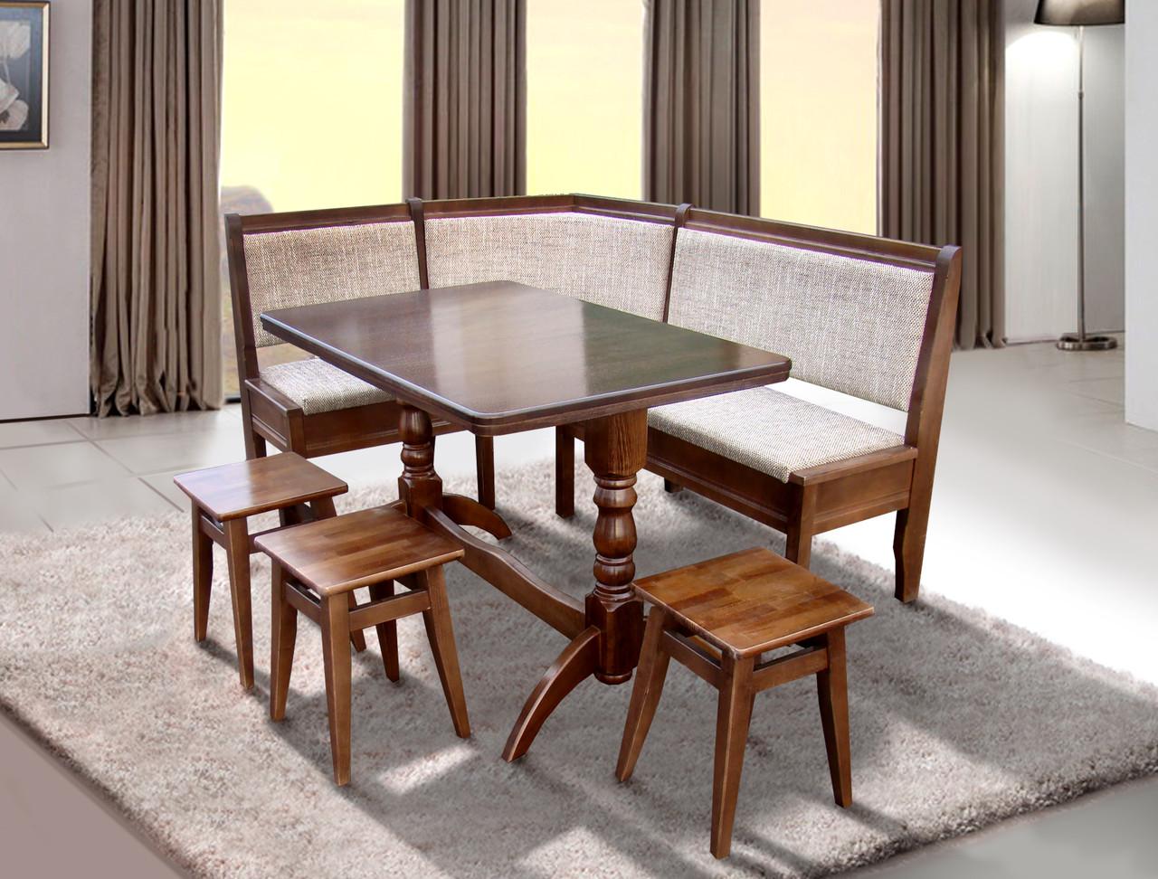 Комплект Семейный (уголок + стол + 3 табурета) Орех/Берлин 03 (Микс-Мебель ТМ)