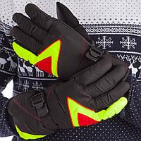Перчатки горнолыжные универсальные ZELART Для сноуборда и лыж теплые Черно-лимонно-красный (A-63) M-L