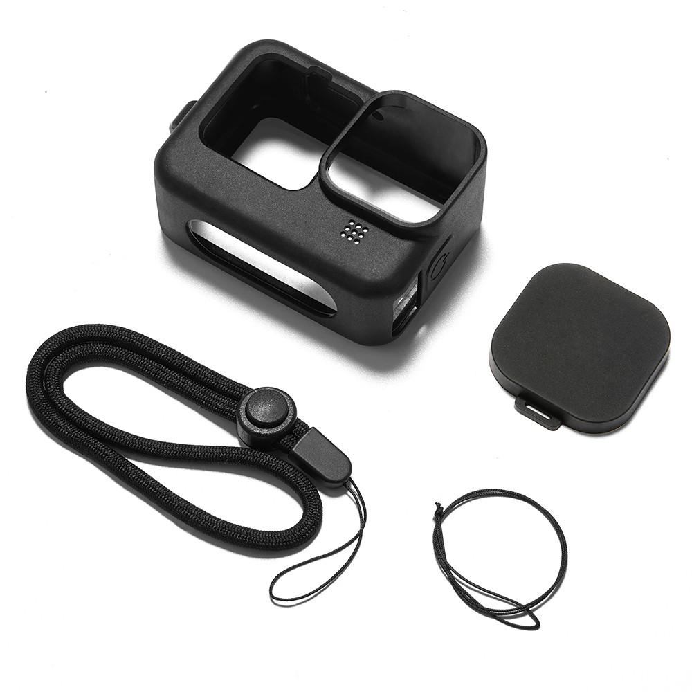 Силиконовый чехол + крышка на объектив с ремешком на запястье для GoPro HERO 9 Black черный