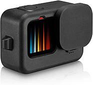 Силиконовый чехол + крышка на объектив с ремешком на запястье для GoPro HERO 9 Black черный, фото 2