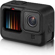 Силиконовый чехол + крышка на объектив с ремешком на запястье для GoPro HERO 9 Black черный, фото 4