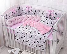 Комплект детского постельного белья «Микки с розовым бантом» с бортиками на 3 стороны и косой, №389