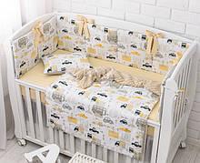 Комплект детского постельного белья «Жёлтые машинки» (4 бортика, подушка, наволочка, плед 2в1), №384