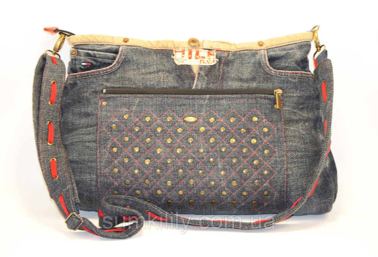 Женская сумочка из джинсовых штанов