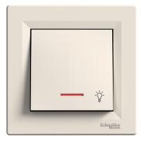 """Выключатель Кнопка """"свет"""" с индикатором крем Asfora Schneider Electric"""