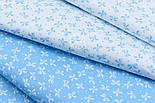 """Сатин тканина """"Густі бантики і точки"""" білі на блакитному, № 1770с, фото 3"""