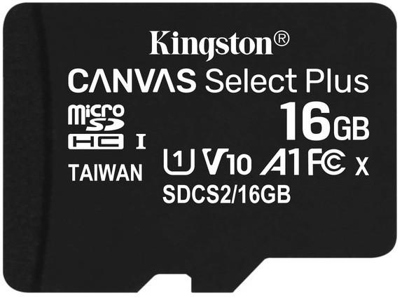 Карта памяти Kingston microSDHC 16Gb Canvas Select Plus A1 UHS-1 (R-100 Mb/s)