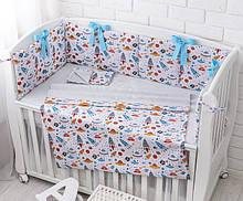 Комплект детского постельного белья «Ракеты в космосе» с бортиками на 4 стороны и сменкой, №383