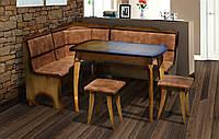 Кухонный комплект Даллас (уголок + диван + 2 табурета) Орех (Микс Мебель ТМ)