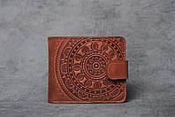 """Кожаный кошелек ручной работы с тисненым орнаментом """"Мандала"""", фото 1"""