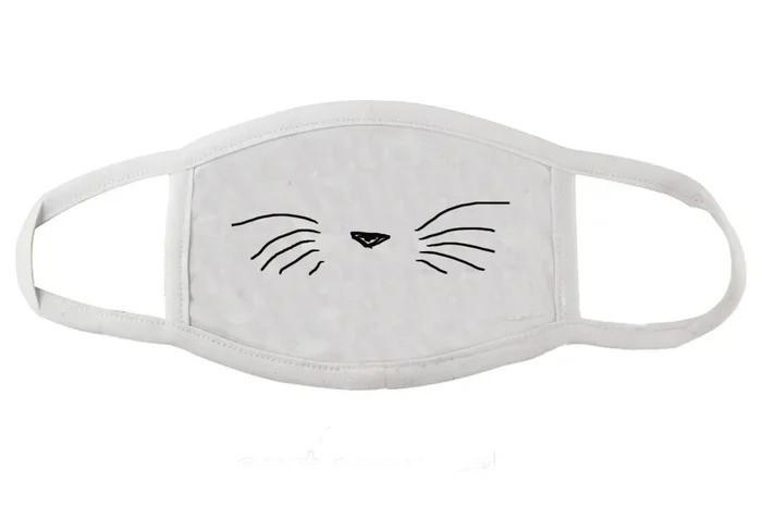 Защитная маска для лица белая Усы Котика (женская,детская,мужская)