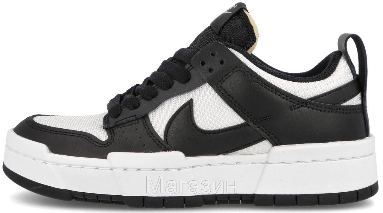 Мужские женские кроссовки Nike Dunk Low Disrupt White/Black (Найк Данк низкие) черные белые CK6654-102