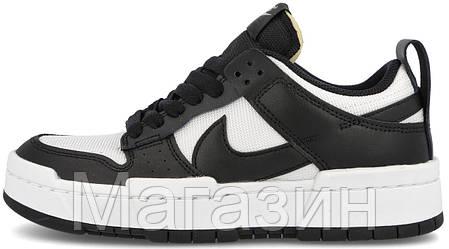 Мужские женские кроссовки Nike Dunk Low Disrupt White/Black (Найк Данк низкие) черные белые CK6654-102, фото 2
