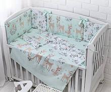 Детская постель «Косули и розочки» мятные с бортиками на 4 стороны и сменкой, №380