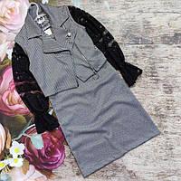 Школьный костюм для девочки. Платье и жилет-косуха.