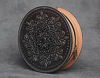 """Стильная круглая кожаная сумочка """"Мандала"""", коричнево-бежевая кожаная сумочка ручной работы, фото 1"""