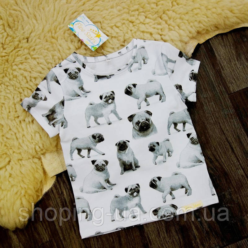 Детская футболка мопсики Five Stars KD0430-140р