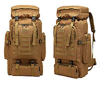 Прочный тактический рюкзак на 70 л (штурмовой военный туристический) для охоты, рыбалки, туризма. Койот(песок)