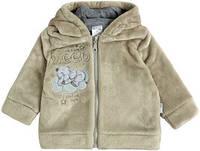Детская плюшевая кофта с капюшоном на молнии и подкладке - хлопок, (р. 86)