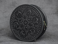 """Стильная круглая кожаная сумочка """"Писанка"""", черная кожаная сумочка ручной работы, фото 1"""