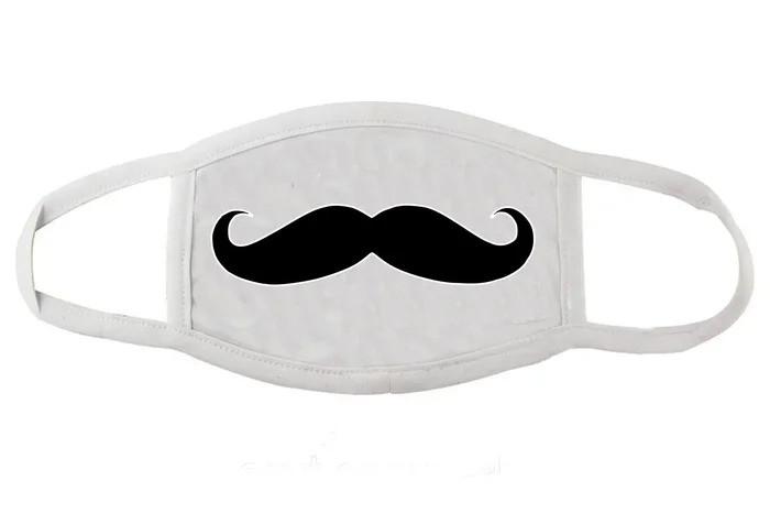 Защитная маска для лица белая Усы (женская,детская,мужская)
