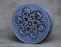 """Стильная круглая кожаная сумочка """"Писанка"""", синяя кожаная сумочка ручной работы, фото 1"""