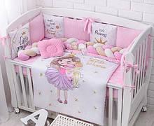 Детская постель «Девочка с единорогом» с бортиками и косой, пледом, подушкой, простынью, №371