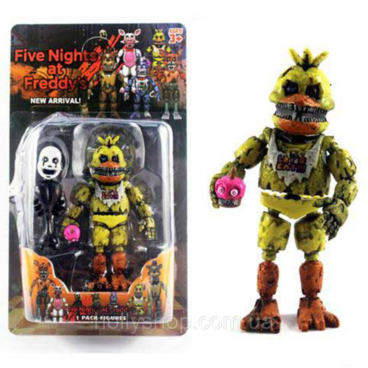 Фігурка кошмарного аніматроніка Чикка з гри П'ять Ночей з Фредді в індивідуальній упаковці ФНаФ 15см
