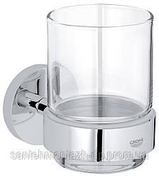 ESSENTIALS стакан стеклянный с держателем, хром