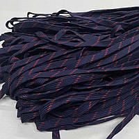 Шнурок 4х40 плоский полуэластичный 10 мм темно-синий с красным