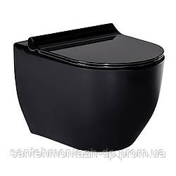 BLACK AMADEUS унитаз подвесной черный, сиденье твердое Slim slow-closing