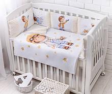 Детская постель из сатина «Мальчик с самолётиком» (бортики на 3 стороны)