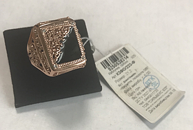 Перстень мужской из серебра 925 пробы с позолотой 585 пробы с фианитами и чёрной эмалью