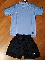 Футбольная форма Nike REPLICA Найк голубая с чорными шортами