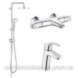 EUROSMART Набор смесителей для ванны с термостатом (23324001+34155003+27389002)
