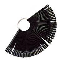 Палитра - веер типсы для лака на кольце на 50 штук МЯГКИЙ КВАДРАТ черный