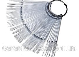 Палитра - веер типсы для лака на кольце прозрачный на 40 штук СТИЛЕТ 12,5 см