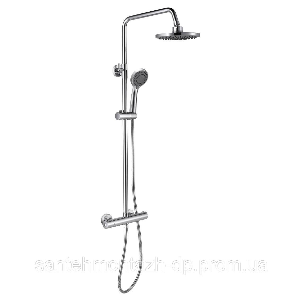 LUX система душевая c термостатом (верхний душ 200мм, ручной душ 3 режима)