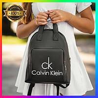 Женский черный стильный рюкзак Calvin Klein кожаный для девушек Кельвин Кляйн